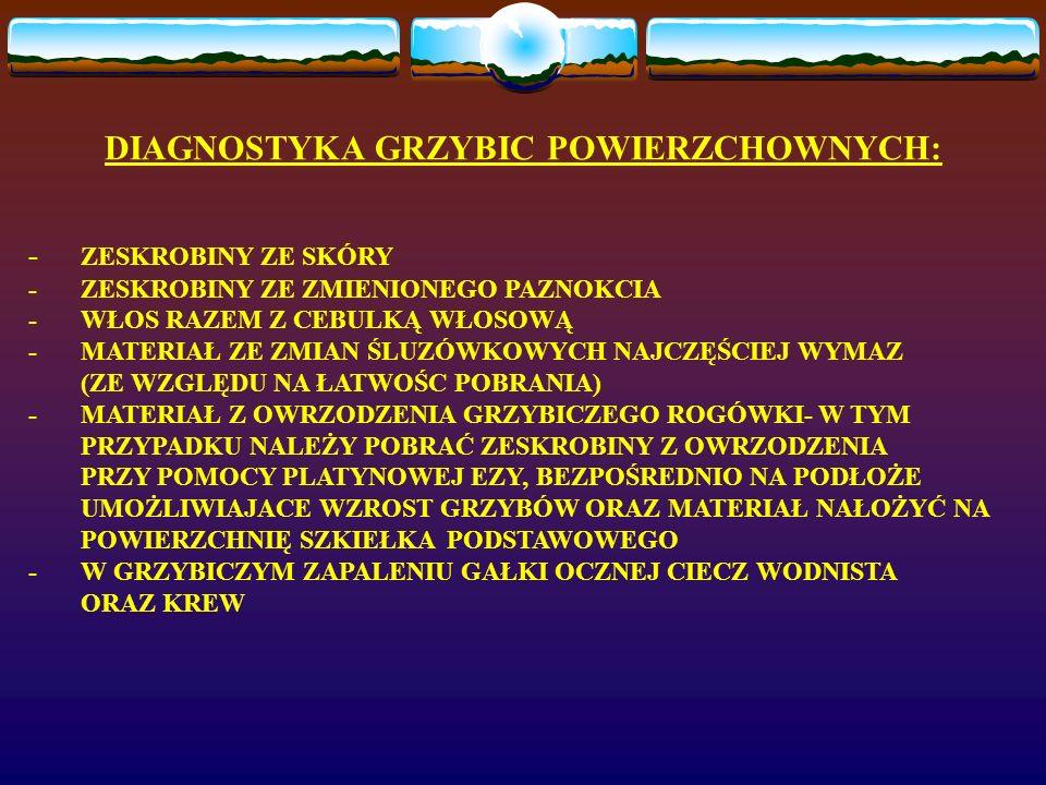 DIAGNOSTYKA GRZYBIC POWIERZCHOWNYCH: