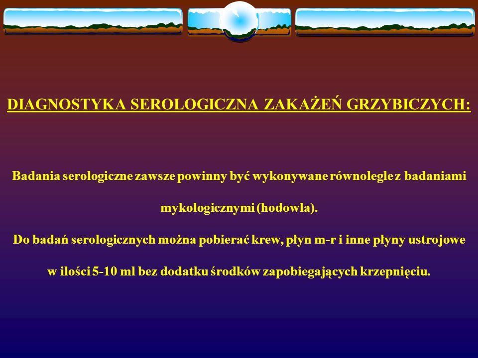 DIAGNOSTYKA SEROLOGICZNA ZAKAŻEŃ GRZYBICZYCH: