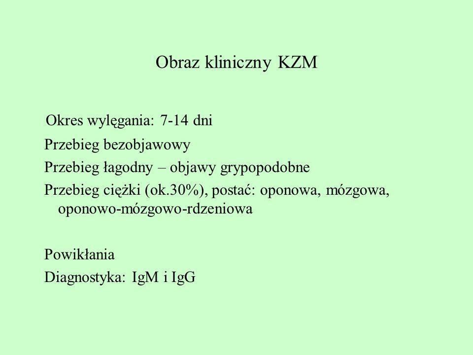 Okres wylęgania: 7-14 dni Obraz kliniczny KZM Przebieg bezobjawowy
