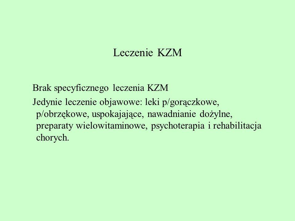 Leczenie KZM Brak specyficznego leczenia KZM