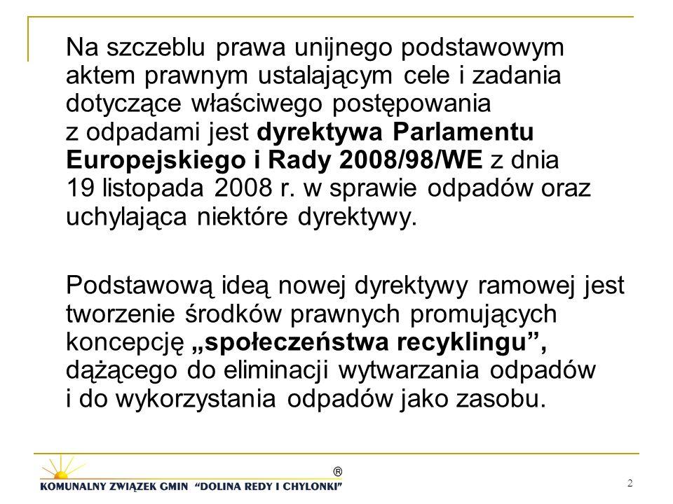 Na szczeblu prawa unijnego podstawowym aktem prawnym ustalającym cele i zadania dotyczące właściwego postępowania z odpadami jest dyrektywa Parlamentu Europejskiego i Rady 2008/98/WE z dnia 19 listopada 2008 r. w sprawie odpadów oraz uchylająca niektóre dyrektywy.