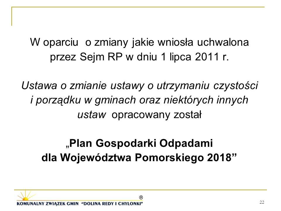 W oparciu o zmiany jakie wniosła uchwalona przez Sejm RP w dniu 1 lipca 2011 r.