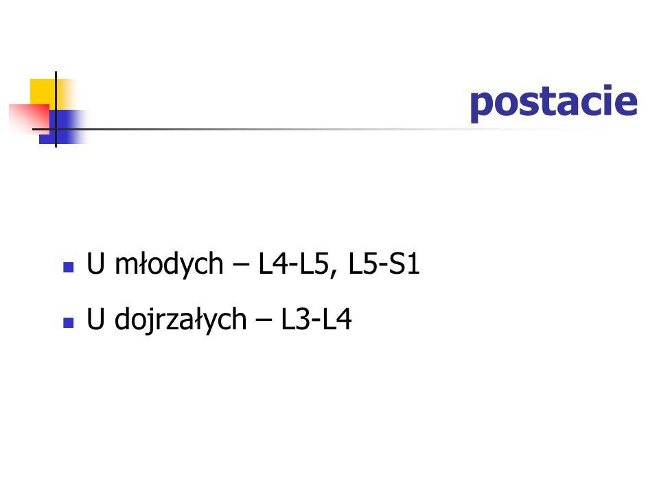 postacie U młodych – L4-L5, L5-S1 U dojrzałych – L3-L4