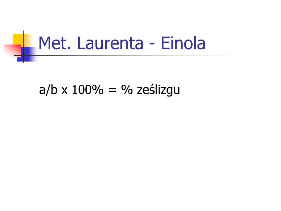Met. Laurenta - Einola a/b x 100% = % ześlizgu
