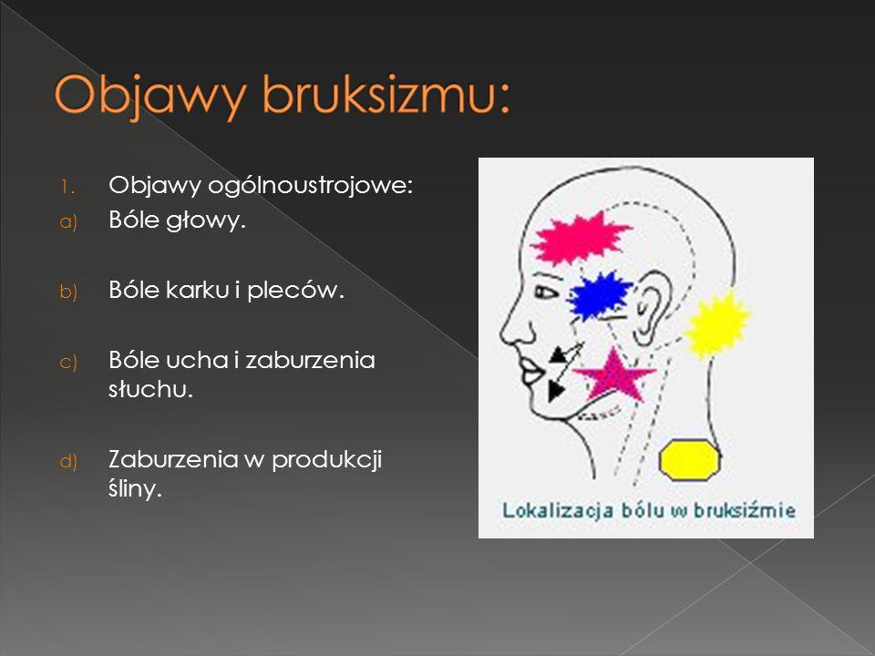 Objawy bruksizmu: Objawy ogólnoustrojowe: Bóle głowy.