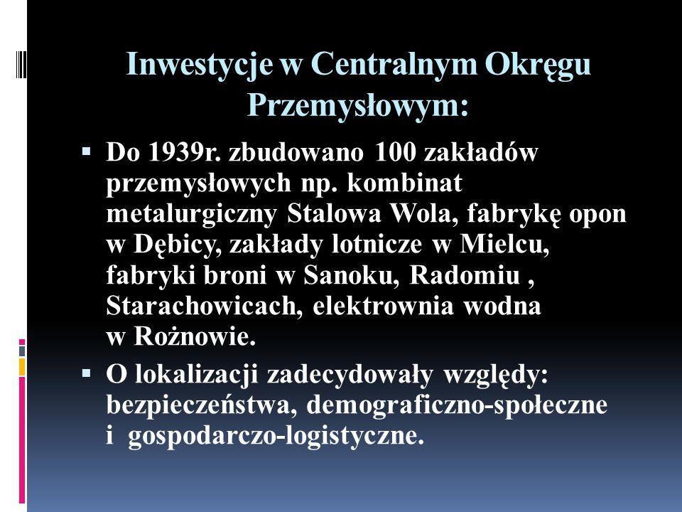 Inwestycje w Centralnym Okręgu Przemysłowym: