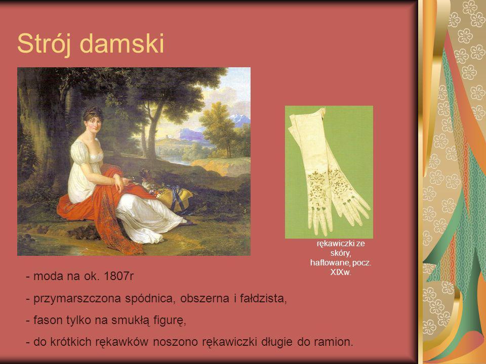 rękawiczki ze skóry, haftowane, pocz. XIXw.