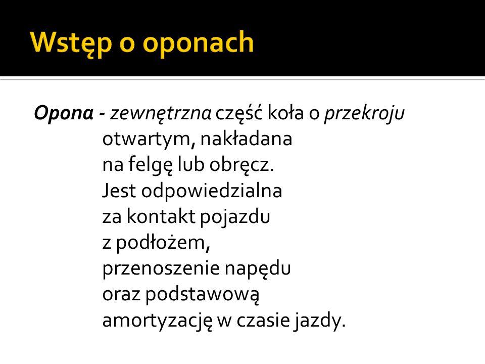 Wstęp o oponach Opona - zewnętrzna część koła o przekroju