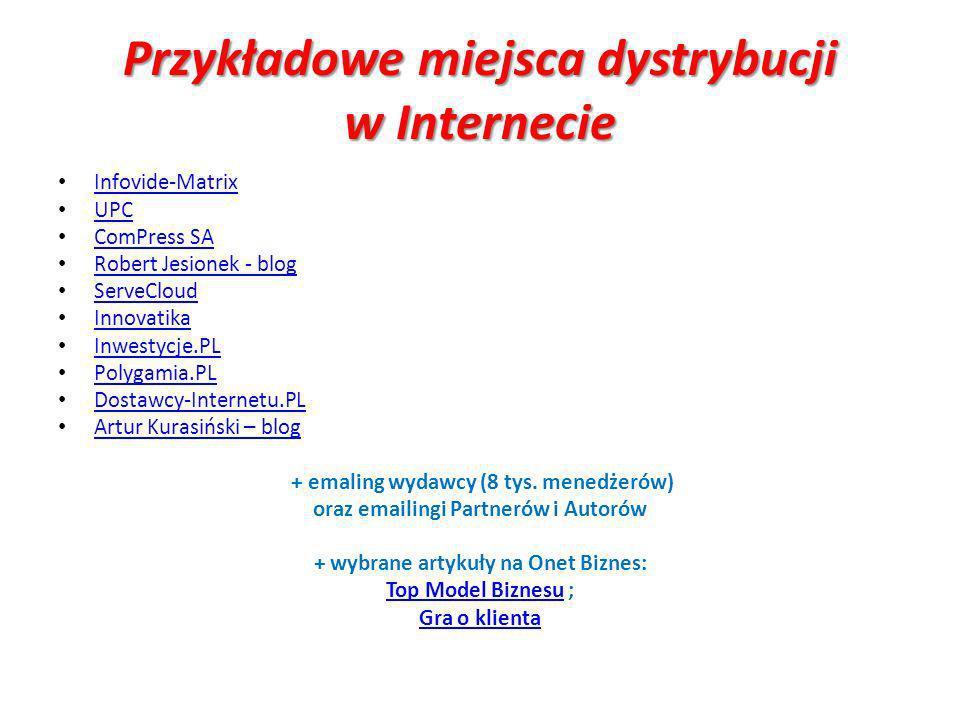 Przykładowe miejsca dystrybucji w Internecie