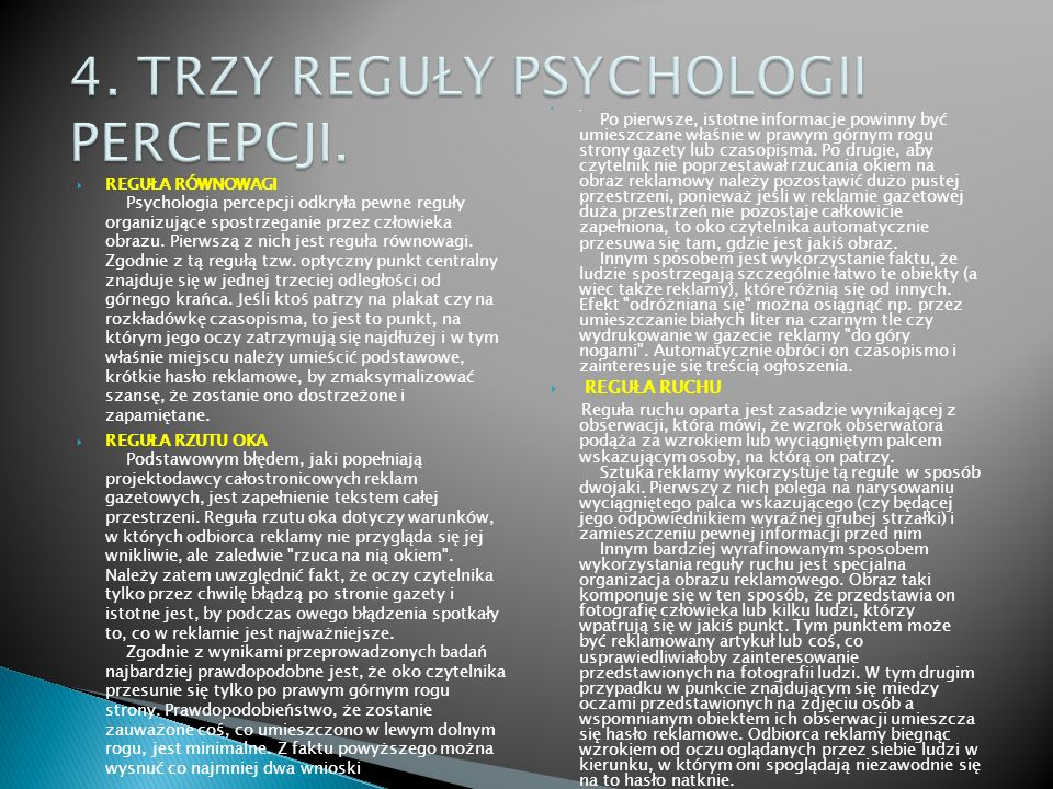4. TRZY REGUŁY PSYCHOLOGII PERCEPCJI.