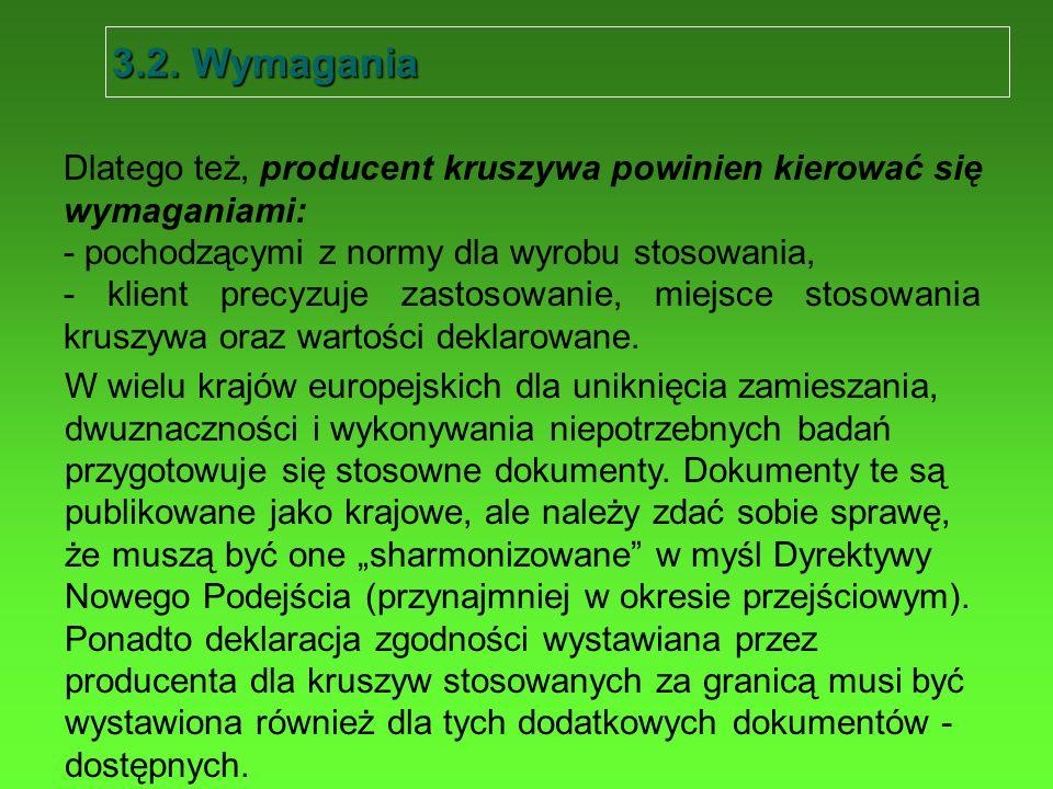 3.2. Wymagania Dlatego też, producent kruszywa powinien kierować się wymaganiami: - pochodzącymi z normy dla wyrobu stosowania,