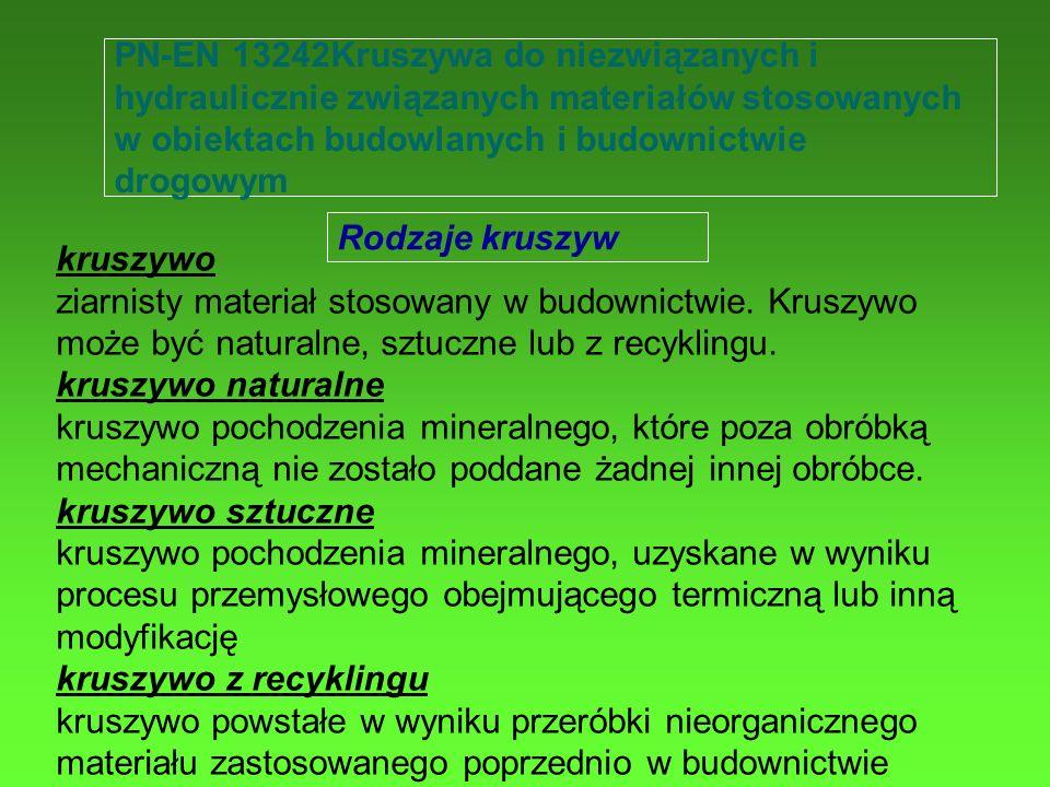 PN-EN 13242Kruszywa do niezwiązanych i hydraulicznie związanych materiałów stosowanych w obiektach budowlanych i budownictwie drogowym
