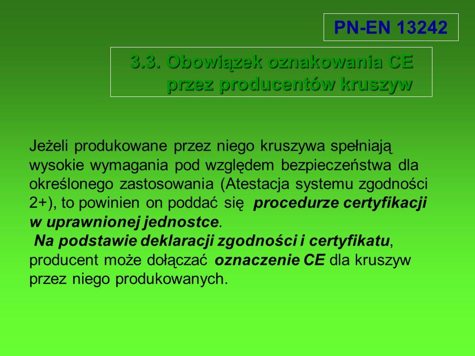 3.3. Obowiązek oznakowania CE przez producentów kruszyw