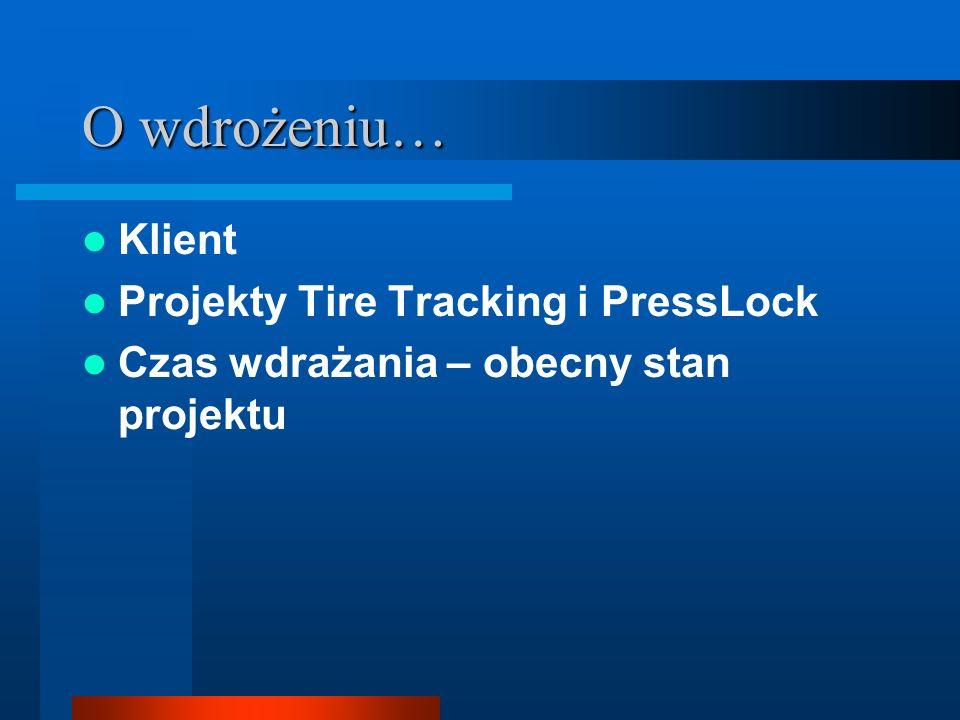 O wdrożeniu… Klient Projekty Tire Tracking i PressLock