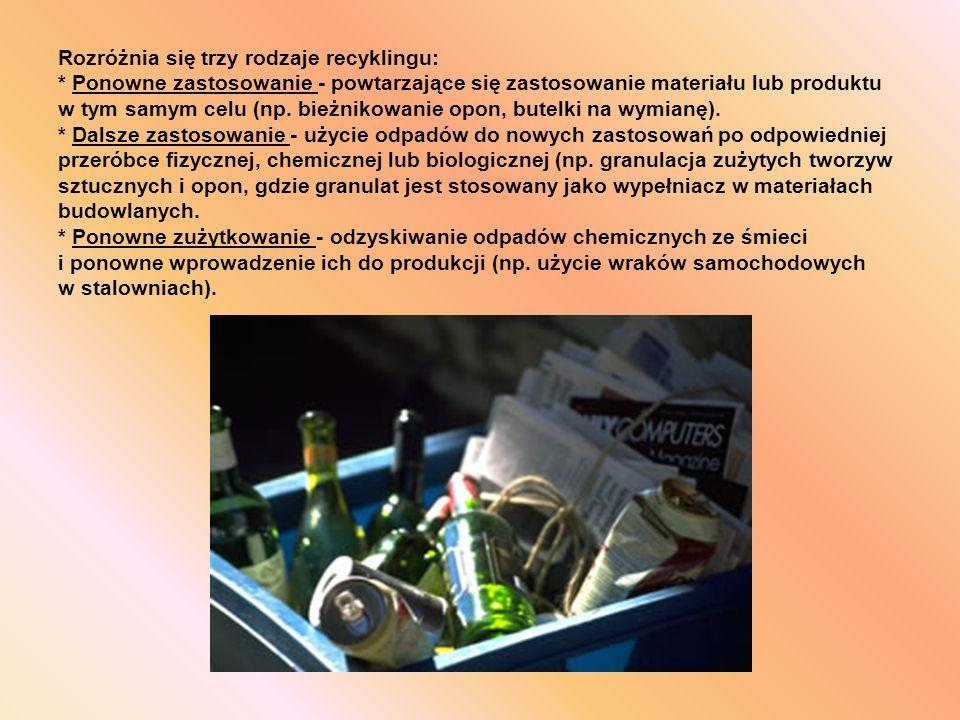 Rozróżnia się trzy rodzaje recyklingu: