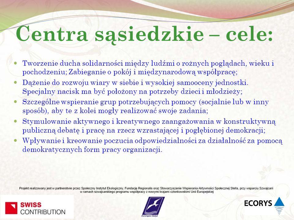 Centra sąsiedzkie – cele: