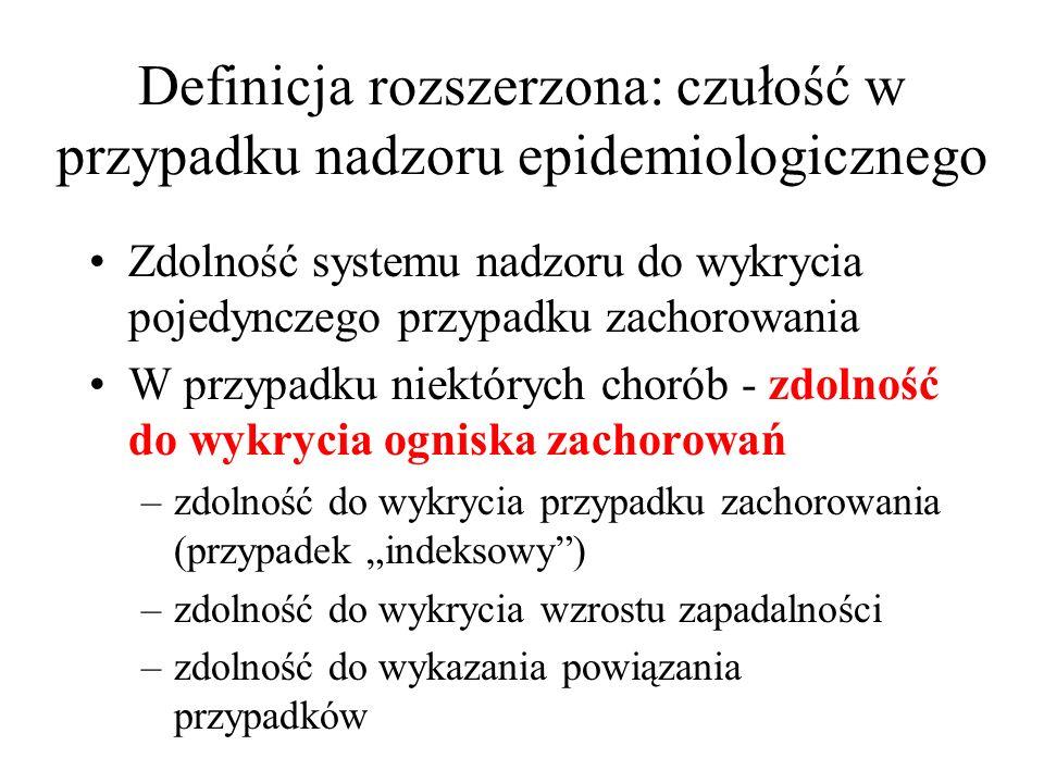 Definicja rozszerzona: czułość w przypadku nadzoru epidemiologicznego
