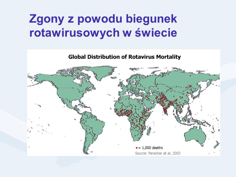 Zgony z powodu biegunek rotawirusowych w świecie