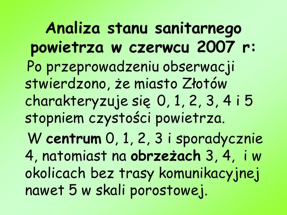 Analiza stanu sanitarnego powietrza w czerwcu 2007 r: