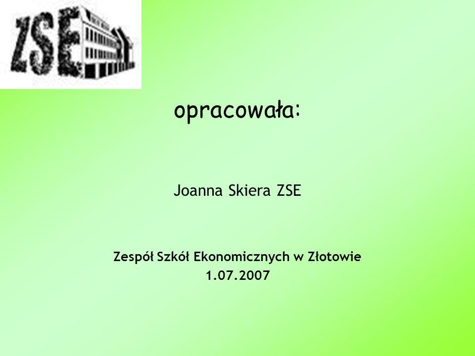 Joanna Skiera ZSE Zespół Szkół Ekonomicznych w Złotowie 1.07.2007