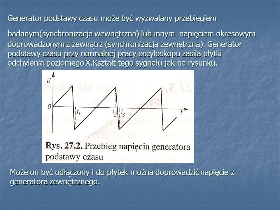 Generator podstawy czasu może być wyzwalany przebiegiem badanym(synchronizacja wewnętrzna) lub innym napięciem okresowym doprowadzonym z zewnątrz (synchronizacja zewnętrzna). Generator podstawy czasu przy normalnej pracy oscyloskopu zasila płytki odchylenia poziomego X.Kształt tego sygnału jak na rysunku.