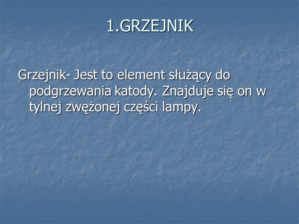 1.GRZEJNIK Grzejnik- Jest to element służący do podgrzewania katody.