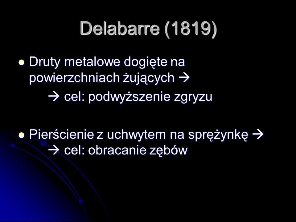 Delabarre (1819) Druty metalowe dogięte na powierzchniach żujących 