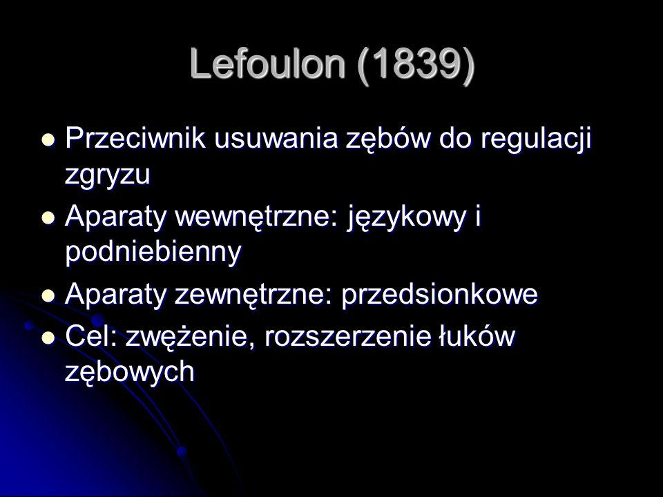 Lefoulon (1839) Przeciwnik usuwania zębów do regulacji zgryzu