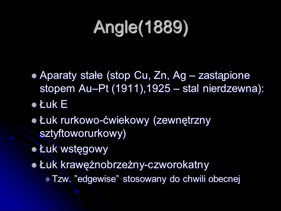 Angle(1889) Aparaty stałe (stop Cu, Zn, Ag – zastąpione stopem Au–Pt (1911),1925 – stal nierdzewna):