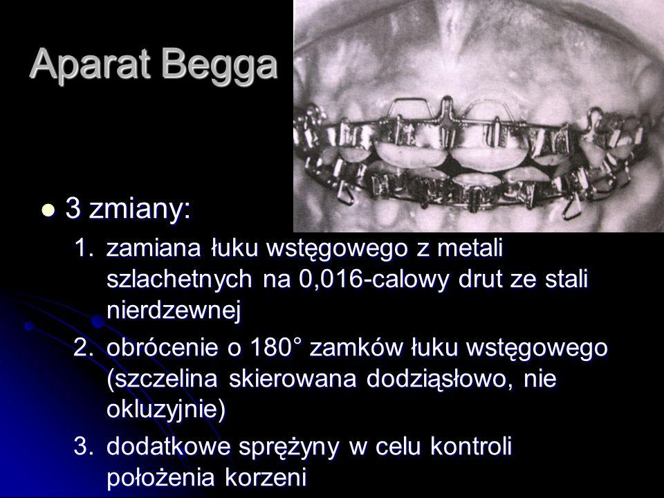 Aparat Begga 3 zmiany: 1. zamiana łuku wstęgowego z metali szlachetnych na 0,016-calowy drut ze stali nierdzewnej.