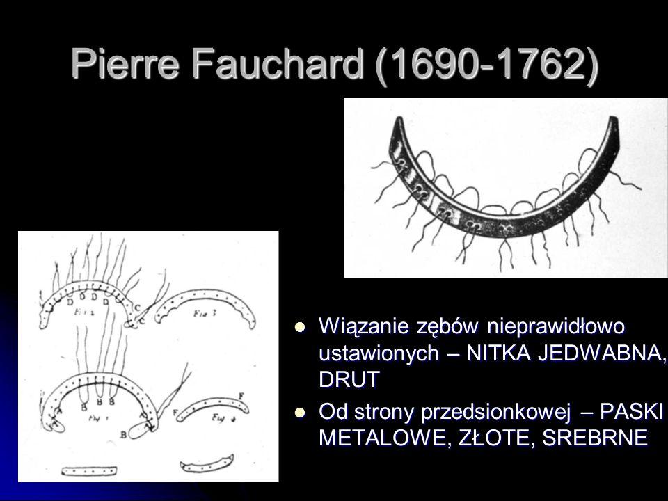 Pierre Fauchard (1690-1762) Wiązanie zębów nieprawidłowo ustawionych – NITKA JEDWABNA, DRUT.