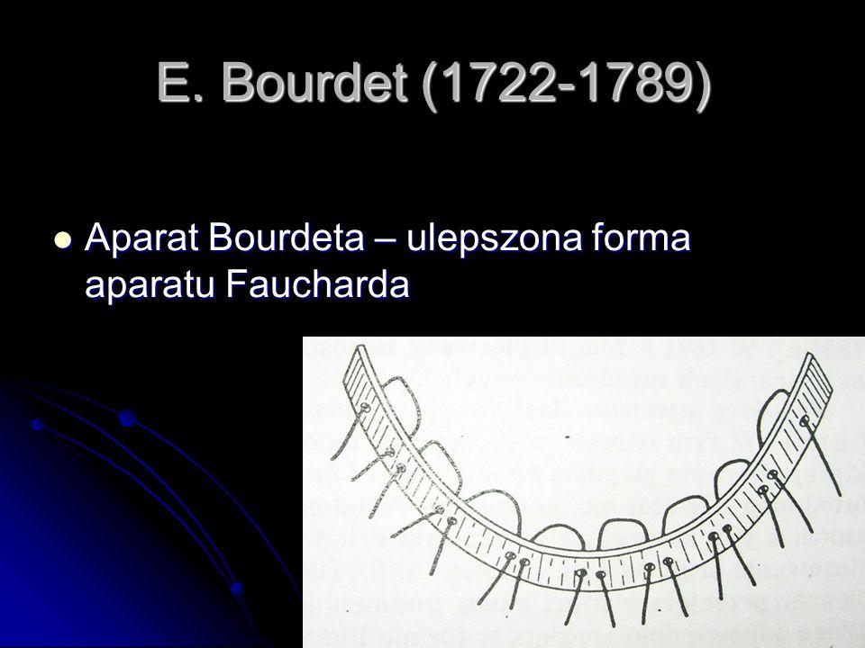 E. Bourdet (1722-1789) Aparat Bourdeta – ulepszona forma aparatu Faucharda