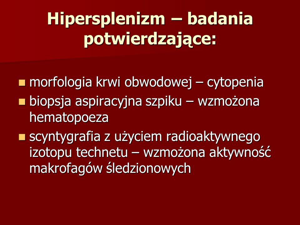 Hipersplenizm – badania potwierdzające: