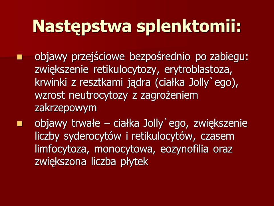 Następstwa splenktomii: