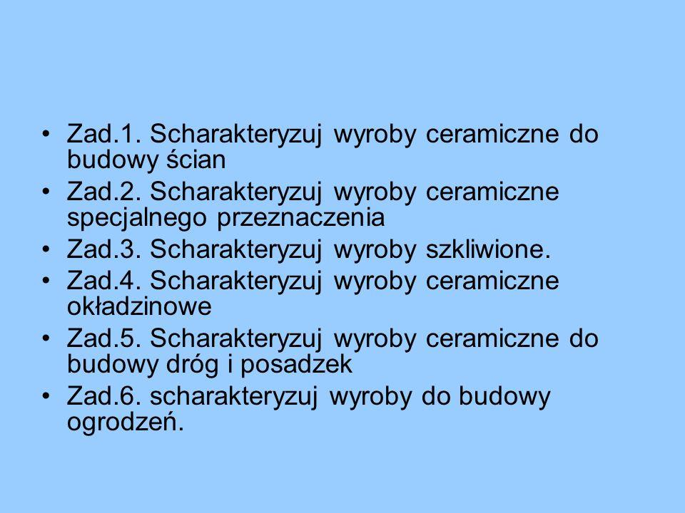 Zad.1. Scharakteryzuj wyroby ceramiczne do budowy ścian