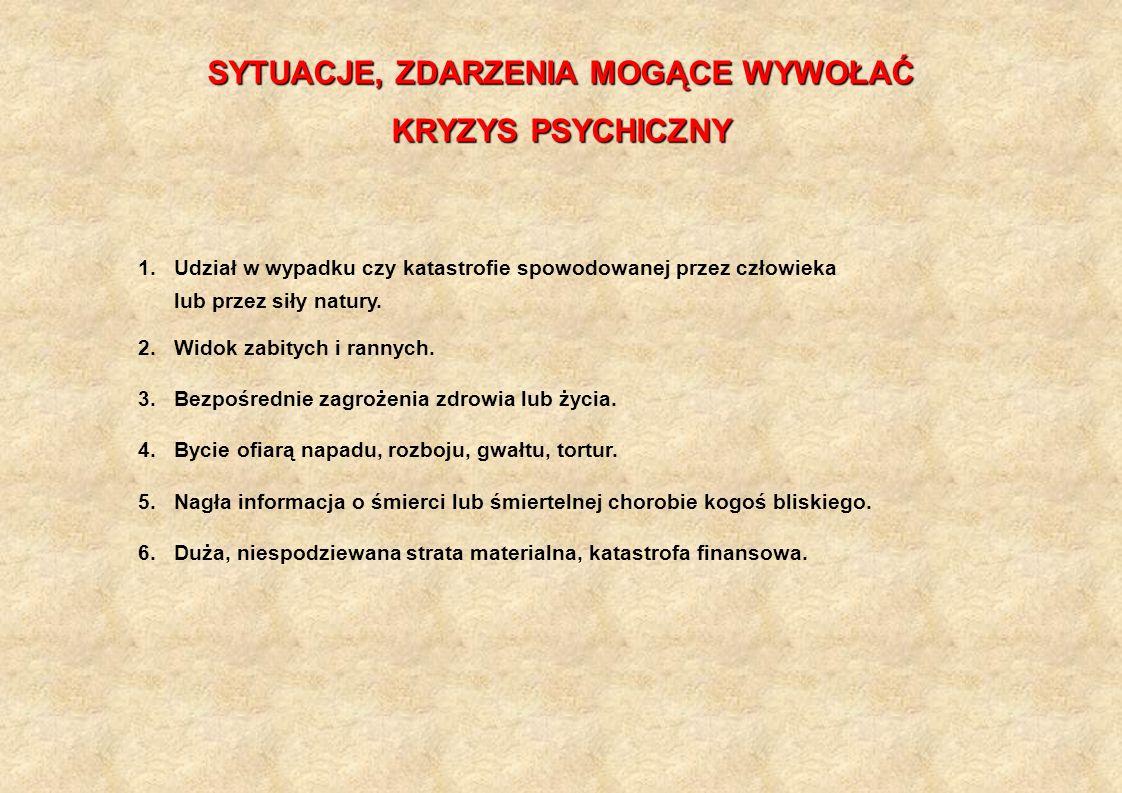 SYTUACJE, ZDARZENIA MOGĄCE WYWOŁAĆ KRYZYS PSYCHICZNY