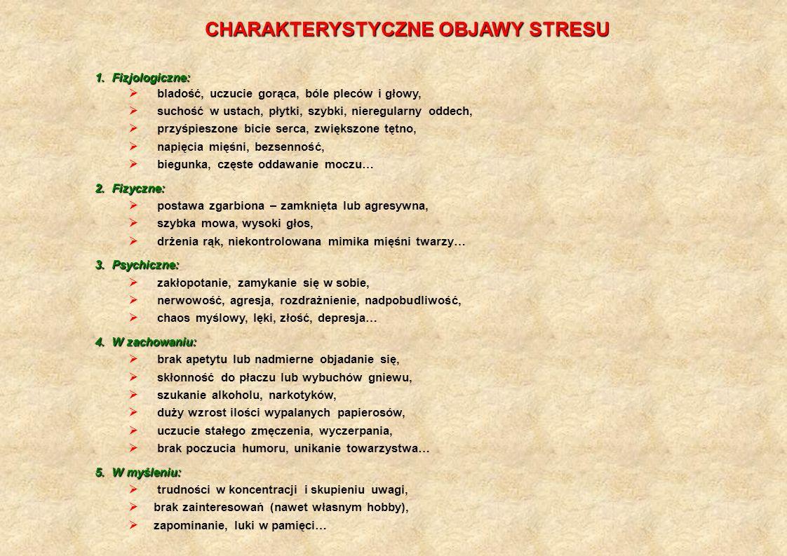 CHARAKTERYSTYCZNE OBJAWY STRESU