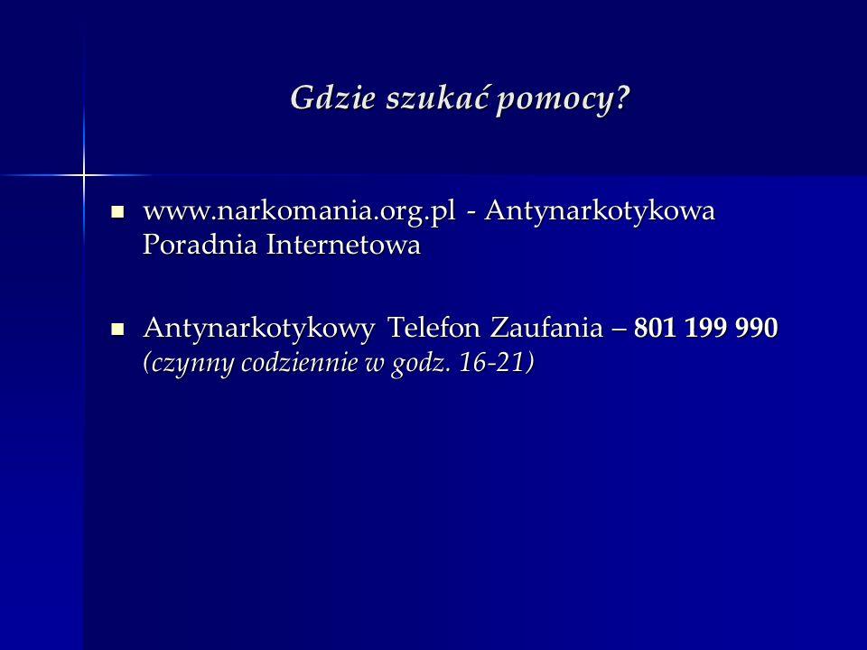 Gdzie szukać pomocy www.narkomania.org.pl - Antynarkotykowa Poradnia Internetowa.