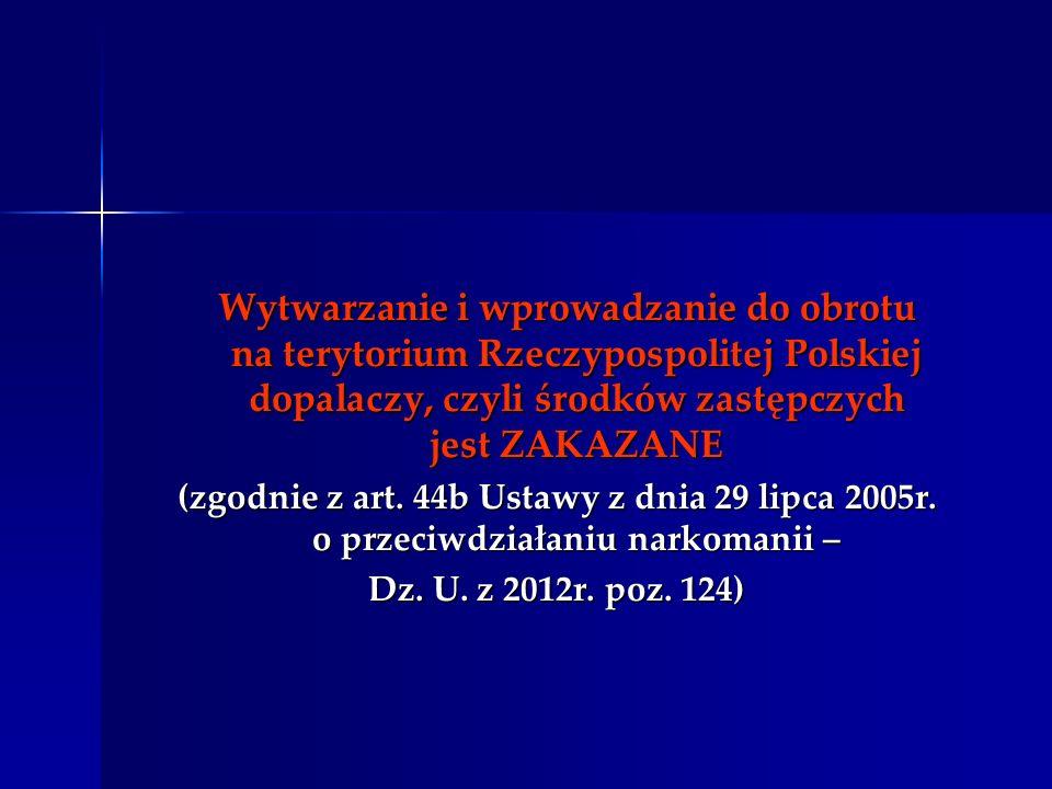 Wytwarzanie i wprowadzanie do obrotu na terytorium Rzeczypospolitej Polskiej dopalaczy, czyli środków zastępczych jest ZAKAZANE