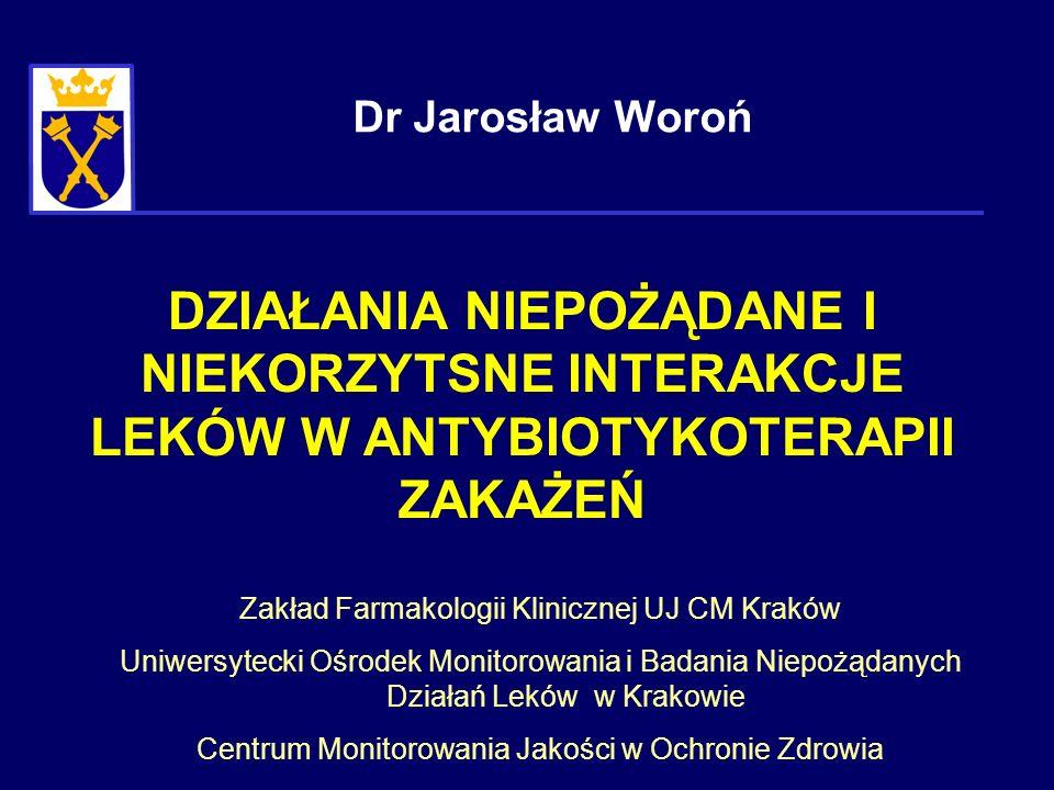 Dr Jarosław Woroń DZIAŁANIA NIEPOŻĄDANE I NIEKORZYTSNE INTERAKCJE LEKÓW W ANTYBIOTYKOTERAPII ZAKAŻEŃ.