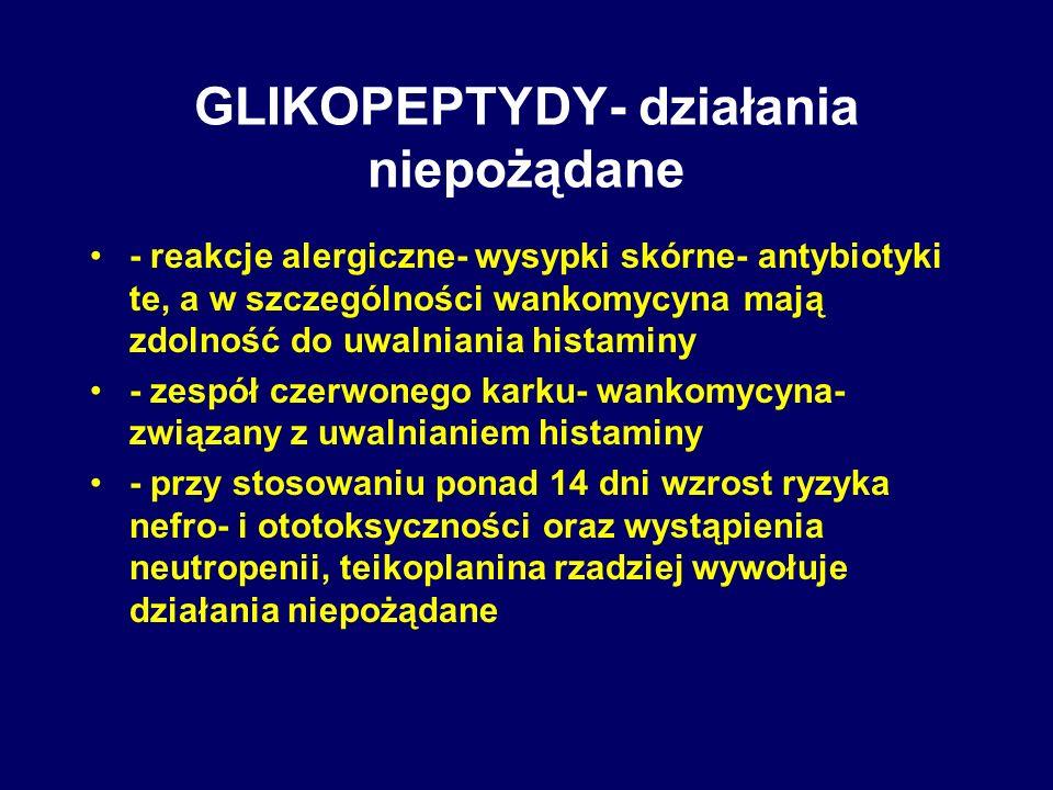 GLIKOPEPTYDY- działania niepożądane