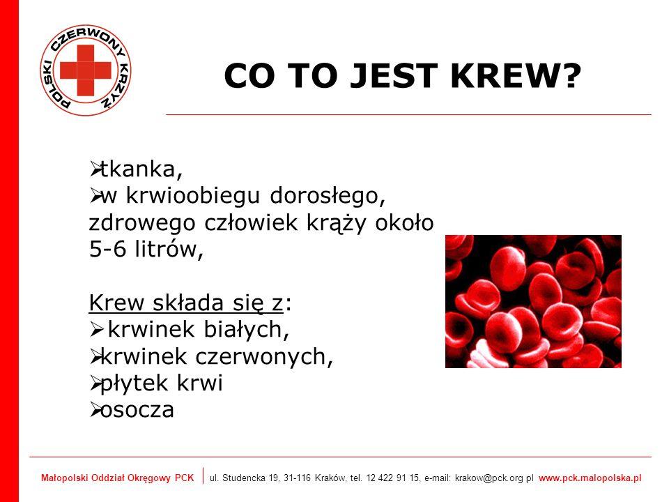 CO TO JEST KREW tkanka, w krwioobiegu dorosłego, zdrowego człowiek krąży około 5-6 litrów, Krew składa się z: