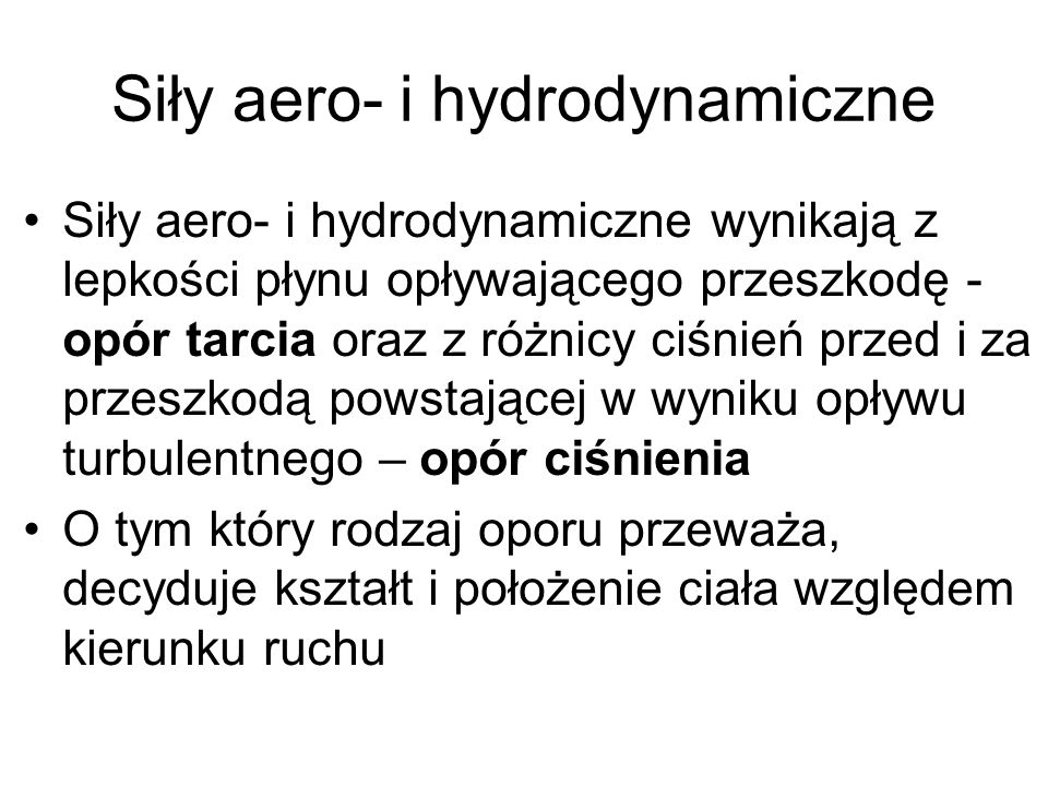 Siły aero- i hydrodynamiczne