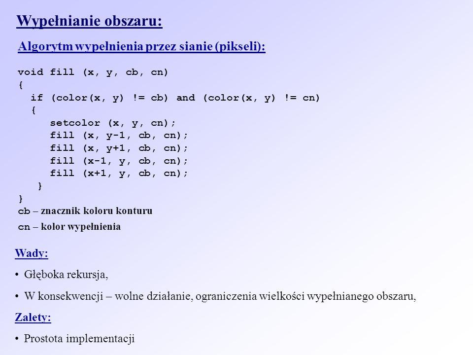 Wypełnianie obszaru: Algorytm wypełnienia przez sianie (pikseli):