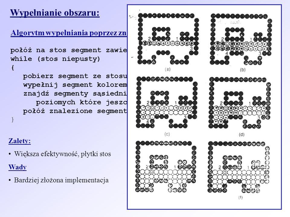 Wypełnianie obszaru: Algorytm wypełniania poprzez znajdowanie segmentów (Smitha): połóż na stos segment zawierający ziarno;