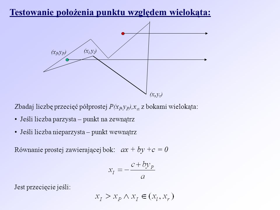 Testowanie położenia punktu względem wielokąta: