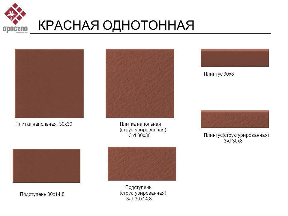 КРАСНАЯ ОДНОТОННАЯ Плинтус 30x8 Плитка напольная 30x30