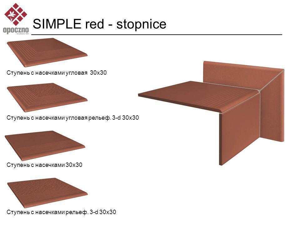 SIMPLE red - stopnice Ступень с насечками угловая 30x30