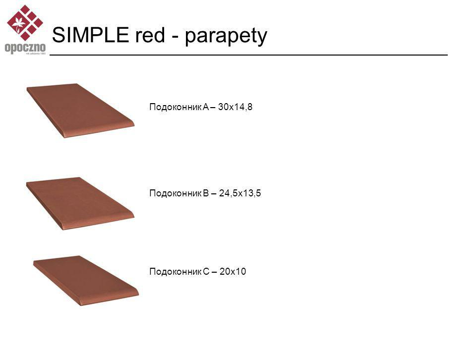 SIMPLE red - parapety Подоконник A – 30x14,8 Подоконник B – 24,5x13,5