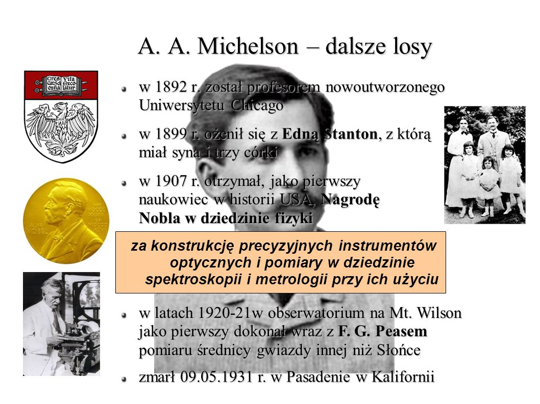 A. A. Michelson – dalsze losy